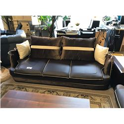 CHOCOLATE LEATHER PILLOW BACK SOFA, LOVE SEAT & CHAIR SET