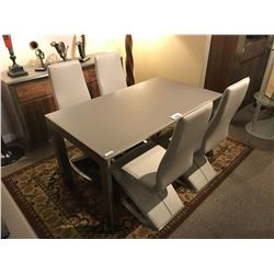 WALNUT & FROSTED GLASS MODERN DINING TABLE WITH 4 LEATHER CHAIRS