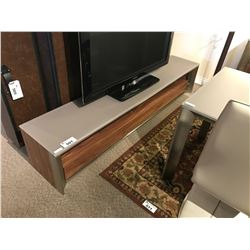 WALNUT & FROSTED GLASS 3 DRAWER ENTERTAINMENT CONSOLE