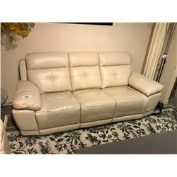 CREAM 3 SEAT LEATHER POWER RECLINING SOFA & LOVE SEAT SET