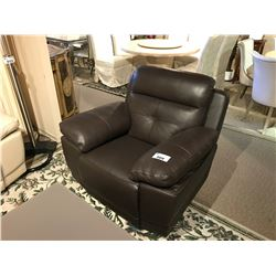 CHOCOLATE LEATHER POWER RECLINING ARM CHAIR