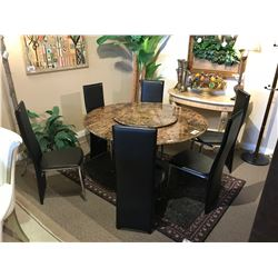 7 PIECE DARK MARBLE LAZY SUSAN DINING TABLE WITH 6 LEATHER CHAIRS