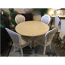 5 PIECE LIGHT MARBLE DINING TABLE WITH 4 WHITE WOOD FRAMED TRADITIONAL CHAIRS