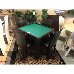 DARK WOOD & LEATHER POKER TABLE WITH 4 CHAIRS & TOP
