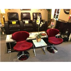 2 RED MODERN SWIVEL CHAIRS WITH END TABLE & FLORAL DECOR