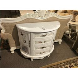 WHITE 4 DRAWER, 2 DOOR HAND PAINTED CONSOLE TABLE