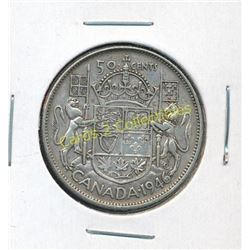1946 Canadian Silver King George 50 Cent Coin