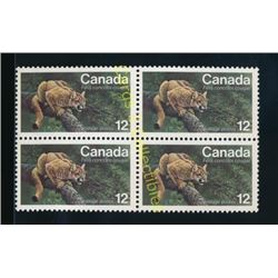 Canada Cougar 12 Cent Stamps Block Of 4
