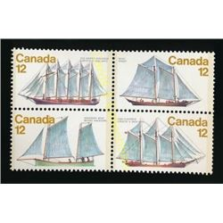 Canada Ships 12 Cent Stamps Block Of 4