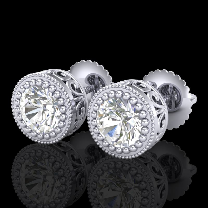 si ref deco earrings art vs ctw stud solitaire gold diamond white
