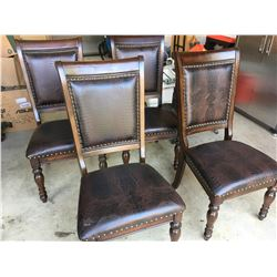 4 wood/leather chairs