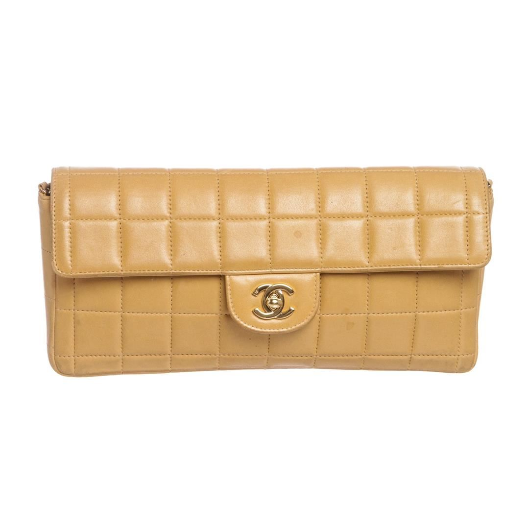 34af80ba289 Image 1   Chanel Beige Lambskin Chocolate Bar East West Flap Bag ...