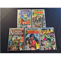 MARVEL 1970'S KEYS X 5 ISSUES (1973-79) INCLUDES INCREDIBLE HULK  #228 (1ST APP MOONSTONE) IRONMAN