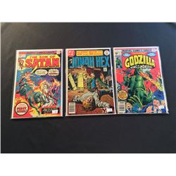 MARVEL & DC 1970'S #1S X 3 ISSUES (1975-77) INCLUDES GODZILLA #1 + JONAH HEX #1 & SON OF SATAN #1