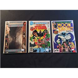 MARVEL & DC 1980'S #1'S X 3 ISSUES (1980-88) INCLUDES MOON KNIGHT #1 + NEW TEEN TITANS #1 SANDMAN