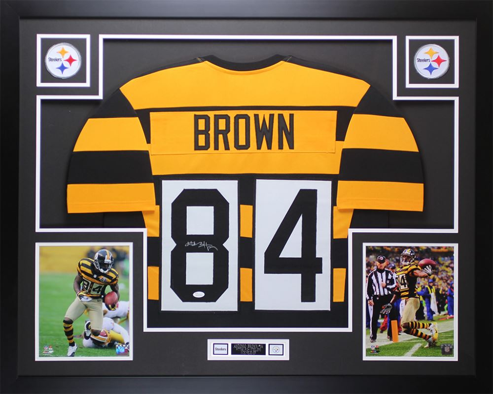 Image 1   Antonio Brown Signed 35x43 Custom Framed Throwback Bumblebee Steelers  Jersey (JSA COA 63017a1e0