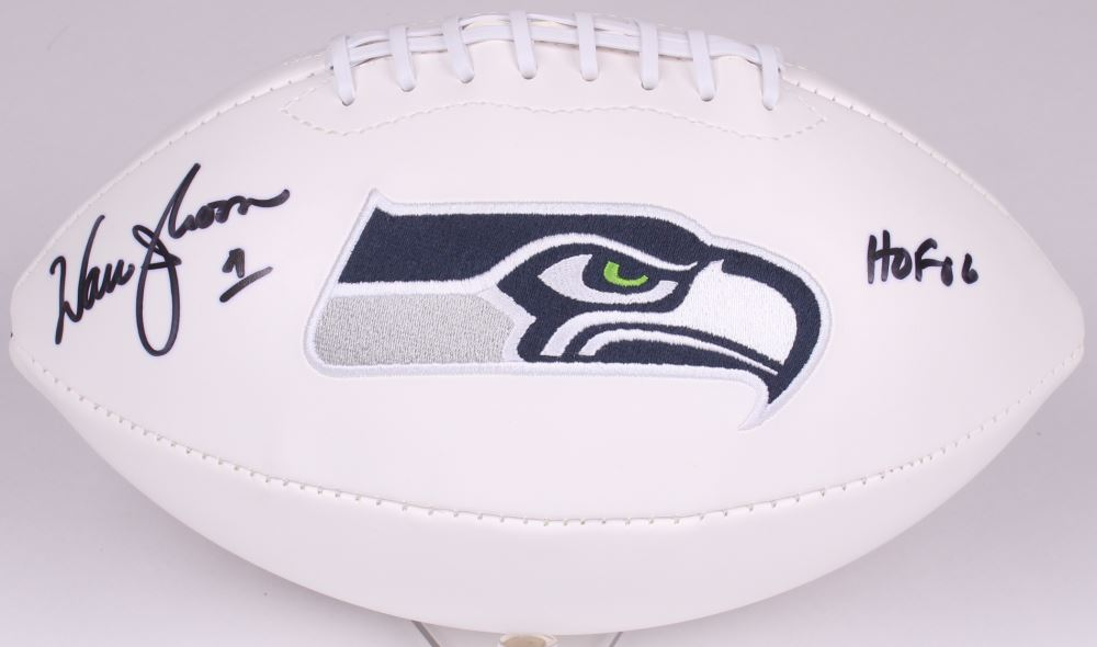 Image 1   Warren Moon Signed Seahawks Logo Football Inscribed
