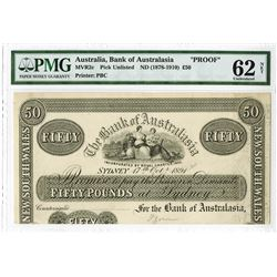 Bank of Australasia, 1891 Unlisted Proof Banknote.