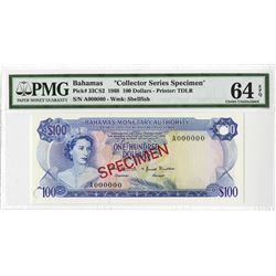Bahamas Monetary Authority, 1968 Specimen Banknote.