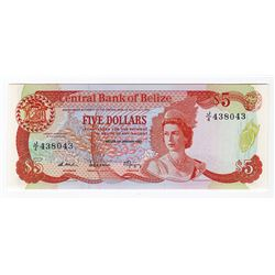 Central Bank of Belize, 1987 Issue Banknote.