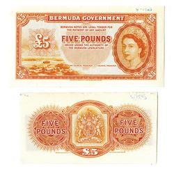 Bermuda Government, 1952-57 Uniface Front and Back Proof Banknote.