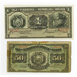 Tesoreria dela Republica de Bolivia, 1902, Issued Pair of Banknotes.