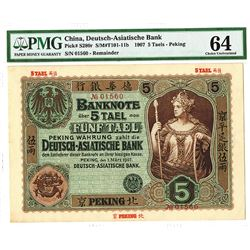 Deutsch-Asiatische Bank, 1907  Peking  Branch High Grade Rarity.