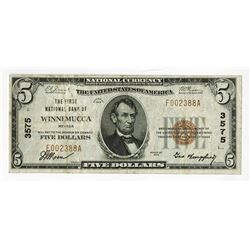 Winnemucca, NV - $5 Ty. 1, The First NB of Winnemucca, Ch# 3575, Fr#1800-1.