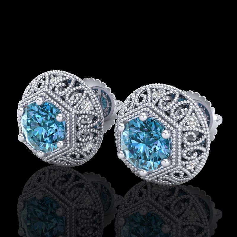 deco platinum stud il earrings listing art diamond