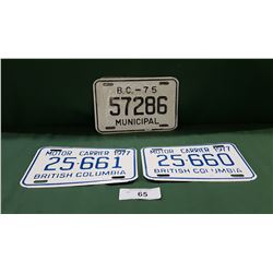 THREE 1970'S NOS LICENSE PLATES