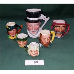 SIX ENGLISH CHARACTER MUGS