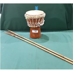 BONGO DRUM W/TWO FISING SPEARS