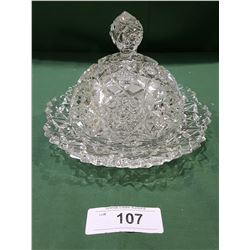 BRILLIANT CUT GLASS COVERED BUTTER DISH