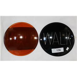 TWO VINTAGE GLASS TRAFFIC SIGNAL LENSES