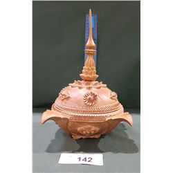 ASIAN CARVED WOOD LIDDED DISH