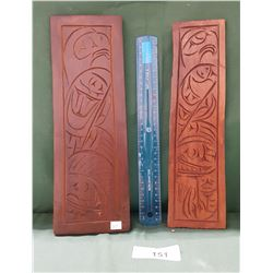 TWO SIGNED NATIVE CARVED PLAQUES