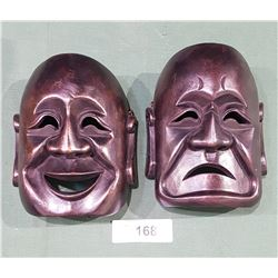 COMEDY & TRAGEDY WOODEN MASKS