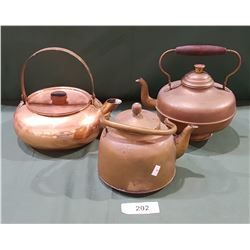 THREE COPPER POTS