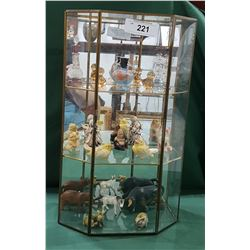 DISPLAY CASE W/FIGURINES