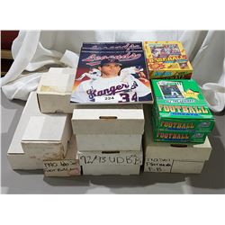12 BOXES BASEBALL, FOOTBALL & BASKETBALL CARDS