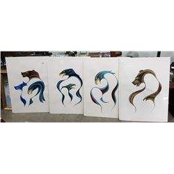 SIX NATIVE ART PRINTS SIGNED