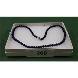 LAPIS LAZULI NECKLACE W/STERLING SILVER CLASP