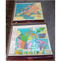 TWO VINTAGE ROLL DOWN WORLD MAPS