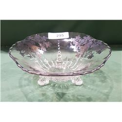 SILVER OVERLAY FOOTED CENTRE BOWL