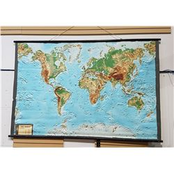VINTAGE TEXTURED RUBBER ROLL UP WORLD MAP