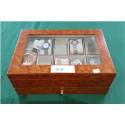 JEWELRY BOX W/5 NEW FASHION WATCHES