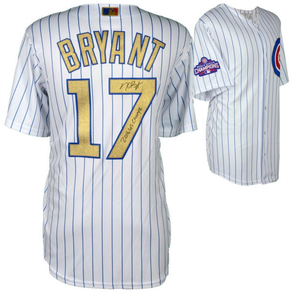 Image 1   Kris Bryant Signed Cubs Majestic Authentic 2016 World Series Gold  Jersey Inscribed