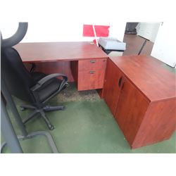 Cherry finish desk with side table and chair