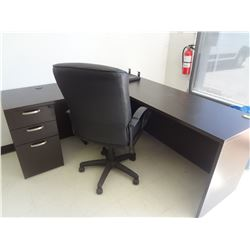 L Shaped Executive Office Desk with Chair