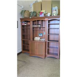 """Wooden Shelving & Cabinet System (3 sections) - 78""""W x 20""""D x 72.5""""H Overall"""
